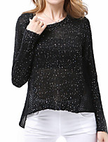 New Arrival/Women's Casual/Daily / Holiday Sexy / Street chic Long PulloverSolid White / Black Round Neck Long Sleeve Cotton Fall / Winter Medium