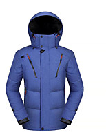 Men's Regular Down Coat,Simple Casual/Daily Solid-Polyester White Duck Down Long Sleeve Blue / Black