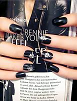 Nail Strips Short Black Fashion Punk Style   24Pcs/Set