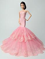 Festa/Noite Vestidos Para Barbie Doll Rosa Rendas Vestidos Para Menina de boneca Toy