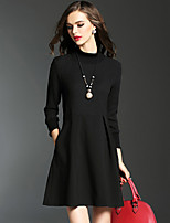 Women's Casual/Daily Street chic Sheath DressPatchwork Above Knee Long Sleeve Cotton Fall Mid Rise Micro-elastic