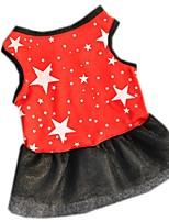 Katzen Hunde Kleider Rot Schwarz Hundekleidung Sommer Frühling/Herbst Sterne Lässig/Alltäglich
