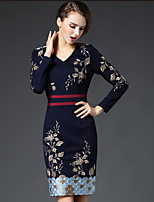 GATHER BEAUTY Women's Going out Sophisticated Sheath DressEmbroidered V Neck Above Knee Long Sleeve Blue / Red Cotton / Polyester Fall High Rise