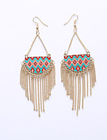 European And American Fashion Semicircle Drip Color Chain Pendant Tassel Earrings