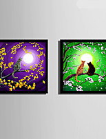 E-HOME® Framed Canvas Art, Cat In A Tree That Is Full Of Flowers Framed Canvas Print Set Of 2