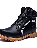 Men's Boots Winter Mary Jane PU Casual Flat Heel Lace-up Black / Brown / Yellow Others