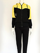 Women's Casual/Daily Simple / Active Fall / Winter Set Pant Suits,Color Block Hooded Long Sleeve Red / Green / Yellow Cotton Medium