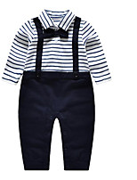 Baby Striped Clothing Set-Cotton-Spring / Fall-Blue