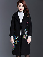 AINIER Women's Casual/Daily Chinoiserie CoatJacquard Notch Lapel Long Sleeve Fall / Winter Black Wool / Polyester
