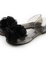 Women's Sandals Summer Comfort PVC Casual Flat Heel Flower Black / White / Champagne Others