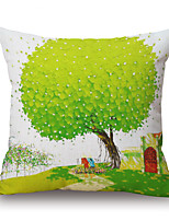 Polyester Decorative Cushion Pillow Cover Print Plant Tree Sofa Home Decor 45x45cm