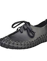 Women's Flats Spring / Fall Comfort PU Casual Flat Heel  Black / White / Gray Walking