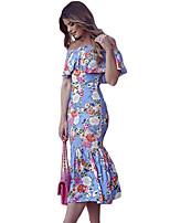 Gaine Robe Femme Sortie Sexy,Fleur Bateau Midi Manches Courtes Bleu Polyester / Spandex Eté Taille Haute Elastique Fin