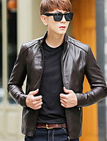 Men's Plus Size Street chic Leather Jackets,Solid Stand Long Sleeve Fall / Winter Black / Brown Lambskin Thick