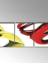 Ручная роспись Абстракция / Натюрморт Картины маслом,Европейский стиль / Modern 3 панели Холст Hang-роспись маслом For Украшение дома