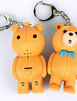 BS-057 Teddy Bear LED Sound-Emitting Keychain Animal Voice Couple Key Ring