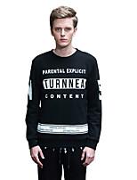 Men's Print / Letter Casual SweatshirtCotton Long Sleeve Black