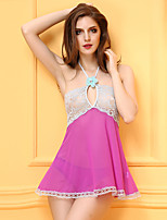 Women's Ultra Sexy Nightwear Lace Jacquard Patchwork-Thin Spandex Pink