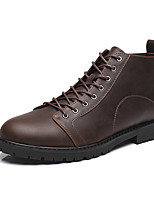 Men's Boots Winter Fashion Boots / Motorcycle Boots / Comfort / Combat Boots Leather Black / Brown