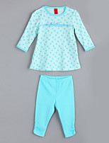 Girl's Casual/Daily Floral Clothing SetCotton Fall Blue