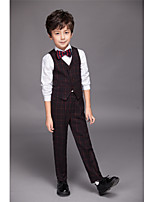 Polyester / Serge / Polester/Cotton Blend Ring Bearer Suit - Four-piece Suit Pieces Includes  Shirt / Vest / Pants / Bow Tie