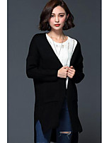 Women's Casual/Daily Simple Regular Cardigan,Solid Black / Gray Notch Lapel Long Sleeve Wool Winter Medium Micro-elastic