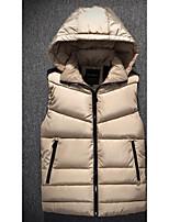 Пальто Простое Обычная На подкладке Мужчины,Однотонный На каждый день Полиэстер Без наполнителя,Без рукавовСиний / Красный / Черный /