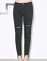 I'HAPPY Women's Solid Black Skinny PantsStreet chic Spring / Summer