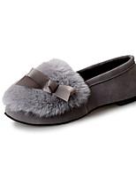 Women's Flats Winter Comfort Leather Fur Casual Flat Heel Black Green Gray Walking