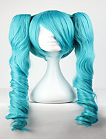 Fashion Master Green Mixed Vocaloid Miku 65cm Long Wavy Braided Synthetic Girl's Hair Cosplay Wig