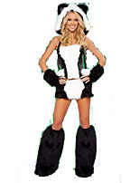 Cosplay Costumes Animal Panda Halloween White / Black Print Cotton Top / Gloves / Leg Warmers / Hats / Shorts