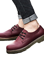 Unisex Oxfords Spring / Fall Comfort PU Casual Flat Heel Lace-up Black / Brown / Red Sneaker