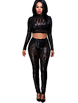Women's Going out / Club Sexy / Vintage / Street chic Slim Casual T-shirt PantSolid Sequins Crew Neck Long Sleeve