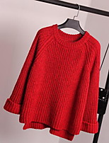 Women's Plus Size / Casual/Daily Simple Regular Pullover,Solid Red / Gray / Yellow Round Neck Long Sleeve Cotton Fall Thick Inelastic