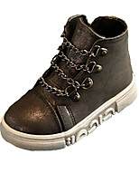 Girl's Boots Fall Winter Comfort PU Casual Flat Heel Pink Gray Walking