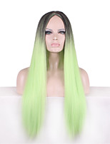 Highlight Black Green Ombre Color Long Natural Straight Synthetic Heat Resistant Fiber Wig For Women Perucas Cosplay