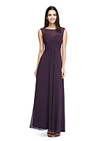 2017 Lanting Bride® Ankle-length Chiffon See Through Bridesmaid Dress - A-line Bateau with Side Draping