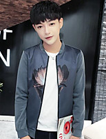 Men's Casual/Daily Simple Jackets,Print Stand Long Sleeve Fall Gray Polyester Thin