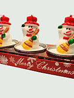 Christmas Candle Cute Little Snowman Shape 3Pcs
