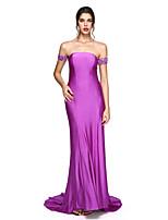 TS Couture® Evento Formal Vestido - Frente Única Tubinho Ombro a Ombro Longo Microfibra Jersey com Apliques