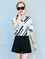 Women's Casual/Daily Street chic Summer Blouse Pant Suits,Striped V Neck Short Sleeve White / Black Polyester Translucent