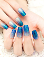 24PCS/SET  Nail Strips Flash Powder Blue Gradient Charming And Sexy