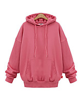 Women's Casual/Daily Simple Regular HoodiesSolid Pink / Black / Green Hooded Long Sleeve Cotton Fall
