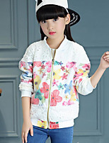 Girl's Casual/Daily Floral Suit & BlazerCotton Winter / Fall White