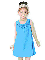 Girl's Casual/Daily Solid Dress,Polyester Summer Blue / Yellow