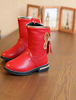 Girl's Boots Spring / Fall / Winter Bootie / Comfort Leather Outdoor / Casual Zipper Black / Pink / Red Walking