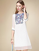 Women's Casual/Daily Simple Shift Dress,Print Round Neck Knee-length ¾ Sleeve White Cotton Fall High Rise Inelastic Thin