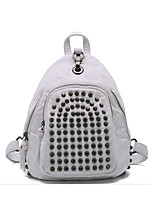 Sports Casual Backpack Women PU Polyester Cotton White