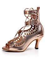 Customizable Women's Dance Shoes Leather Leather Latin Sandals Low Heel Practice / Beginner / Professional / Indoor / Performance Gold