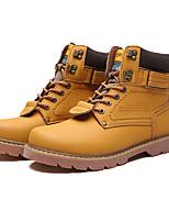 Masculino-Tênis-Conforto-Rasteiro-Marrom / Amarelo / Caqui-Tecido-Casual